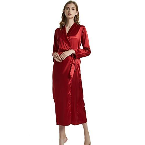 HiSexy Seidiger Langer Kimono für Damen, Brautkleid, Nachtwäsche, Loungewear Einteiler Schlafanzug Nachtwäsche - Rot - X-Large -