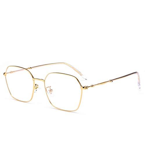 Ploekgda Retro-Polygon-Modebrille aus Metall, Nicht verschreibungspflichtige Brille für Frauen, Männer (Color : Gold)