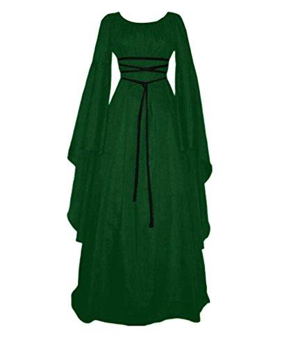 Damen Kleid Maxikleid Retro Boho Kleid Rundhalskleider Halloween Kostüm Langarm Kleid Renaissance Gotisch Kleider Grün 2XL