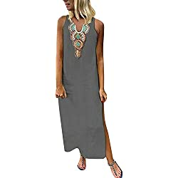 Vestidos Mujer Casual Vestido De Verano Largo Maxi Falda Mujer Cuello En V Estampado De Sin Mangas Fiesta Mujer Boho Playa Sundress,Vestidos Mujer Casual