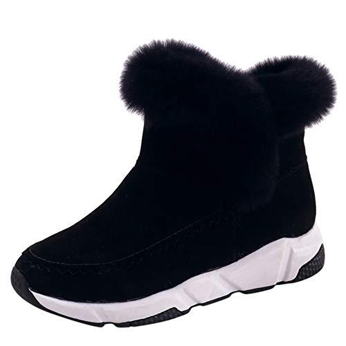 cinnamou Damen-Pelz-Bootie-Schnee-Aufladungs-Winter-warme Flache Schuhe Arbeiten Kurze Sneaker Freizeitschuhe