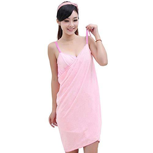 Queena Multifunktionales schnelltrocknendes Handtuch für Frauen und Mädchen, tragbares Spaghettiträger-Kleid - Pink - Einheitsgröße (Mädchen-bad-wrap Mit Straps)