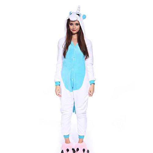 Anladia Unisex Pyjamas Kostüm Fleece Overall Jumpsuit Tier Erwachsene Schlafanzug Weiß Blau M