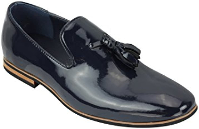 Homme Simili Cuir Slip on Daim Daim on Mocassins Conduite Chaussures Tassel Motif UK Taille 6 12 - Bleu - Navy Patent, 39 456e30