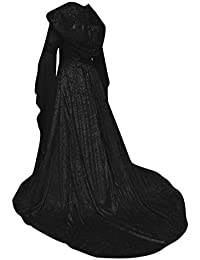 eb43e85fd7 Kasen Mujeres Maxi Halloween Fiesta Vestido Apriete La Cintura Trompeta  Mangas Disfraz con Capucha