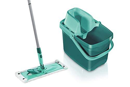 Leifheit Set Combi M micro duo mit rückenschonendem Wischer, Wischtuchpresse für effektives Auswringen, reinigungsstarker Bodenwischer mit Click-System