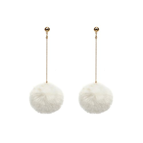 Butterme Frauen Mode Pom Pom Ball Quasten Drop baumeln lange Gold Chain Link baumelnden Ohrring Ohr Drop - Ball Ohrringe Drop Gold