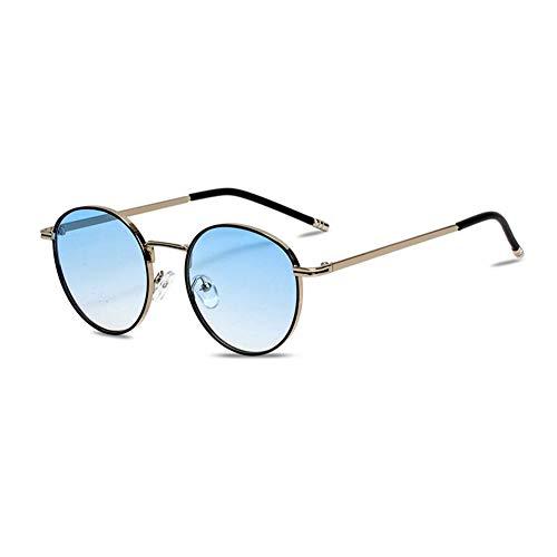 Z&HA Frauen Sonnenbrillen Runde Stylish Gradientenlinsen UV400 Schutz-Kleine Rahmen-Brillen für das Fahren, Party, Straßenschießen,Blue