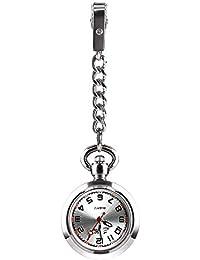 CestMall Reloj Bolsillo Enfermera de Enfermera Reloj con Clip Fob Reloj de Bolsillo Médico Paramédico Reloj