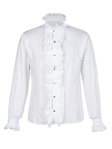 Hooleeger Herren Gothic Rüschenhemd Stehkragen Mittelalter Hemd Cosplay Trachtenhemd Herbst Winter