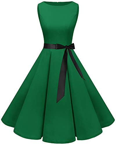 bbonlinedress 50s Retro Schwingen Vintage Rockabilly Kleid Cocktail Faltenrock Green S