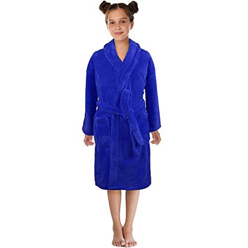 KPILP Kleinkind Jungen Mädchen solide Handtuch warmen Schwanz Bademantel Morgenmantel 100% Baumwolle Saunamantel Fleecebademantel(Blau,EU-40/CN-S)