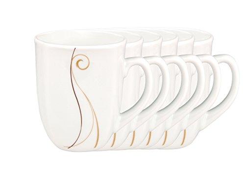 6er Set Kaffeebecher Granada 33cl - Kaffeetasse aus weißem Porzellan mit Linien- Dekor in beige und...