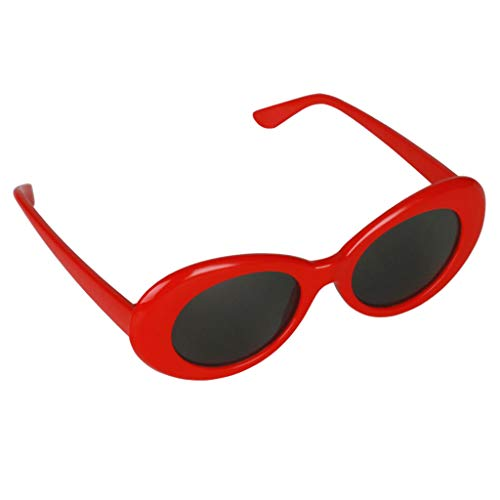 MagiDeal Retro-Schlagbrille Brille Oval Bold Mod Dick Gerahmte Sonnenbrille - rot