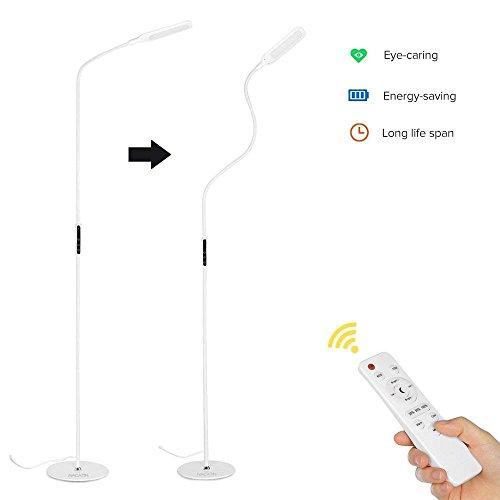 Stehlampe LED dimmbar mit Fernbedienung & Touch-Schalter 9W NACATIN Moderne LED Stehleuchte Schwanenhals 360° drehbar 500LM Wohnzimmerlampe mit Memory- & Timerfunktion Blendfrei 5 Helligkeitsstufen und 5 Farbtemperaturen(Weiß)