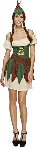 Smiffy's - Costume da Robin Hood, incl. vestito, cappello e cintura, Donna, taglia: XS