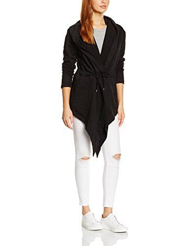 Urban Classics Damen Ladies Hooded Sweat Cardigan Cape, Schwarz (black 7), X-Small -