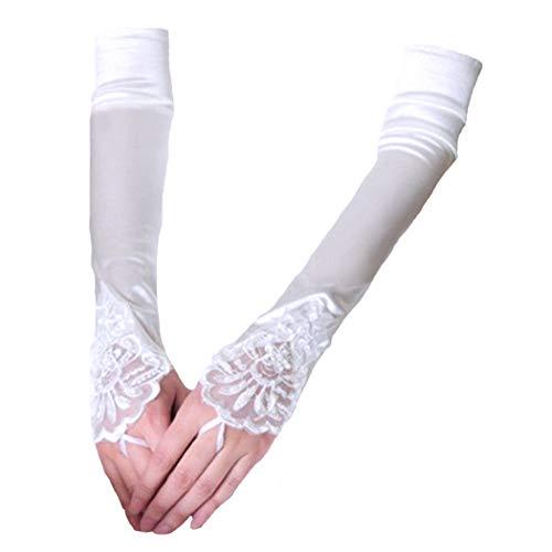 FORLADY Lange Fingerlose Abendhandschuhe Satin Elbow Handschuhe Braut Kostüm Handschuhe Spitze Schmuck (Weiße Fingerlose Spitzen Handschuhe Für Erwachsene)