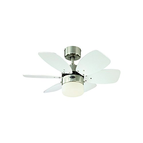 31TB3rLIZGL. SS500  - Westinghouse Lighting 78788 Flora Royale One-Light 76 cm Six Indoor Ceiling Fan, Opal Frosted Glass, Satin Chrome Finish…