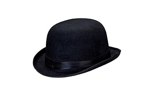 Kopf Dick Kostüm - Schwarze Melone schwarzer Hut Bibi Bowler Homburg Glocke Derby mit Krempe
