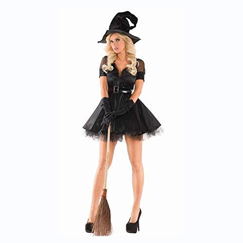 Blühen Mädchen Kostüm Hexe - Shisky Cosplay kostüm Damen, Hexe Kostüm sexy v-Ausschnitt Halloween Magie Mädchen Spiel Halloween Cosplay Uniform
