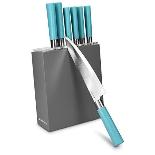 Navaris Messerblock bestückt Messer Set - Messerset 7-teilig mit Block aus Holz - 7X Edelstahl Küchenmesser Kochmesser - Design in Grau Türkis (Türkis Besteck-set)