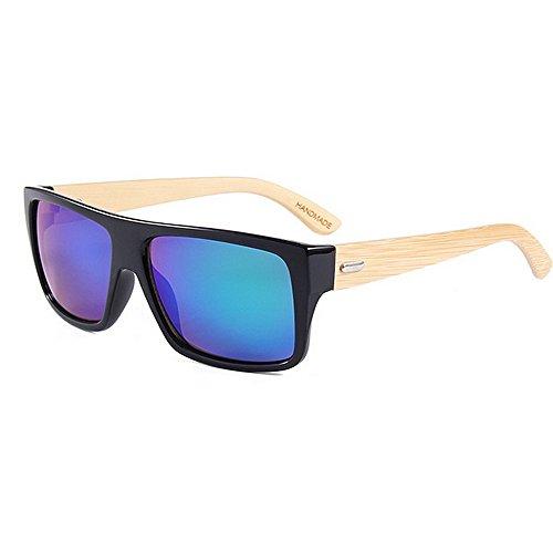 Occhiali da sole polarizzati unisex flat top color lens unisex bamboo occhiali da sole protezione uv fatti a mano per le donne degli uomini uv400 marca occhiali da sole firmati ( colore : verde )