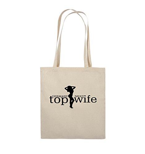 Comedy Bags - GERMANY NEXT top wife - Jutebeutel - lange Henkel - 38x42cm - Farbe: Schwarz / Silber Natural / Schwarz