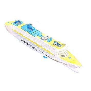 Juguete de revestimiento marino - TOOGOO(R)juguete electrico de revestimiento marino de barco de cruceros de luces LED brillantes y sonidos para ninos y chicos azul + amarillo