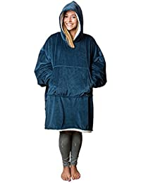The Comfy: Warm, Soft Sherpa Blanket Sweatshirt, Seen on Shark Tank, Multiple Colors, For Adults & Children, Reversible + Hood & Large Pocket