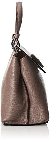 CTM Borsa elegante a mano da donna, vera pelle made in Italy con tracolla 36x21x13.5 Cm Fango