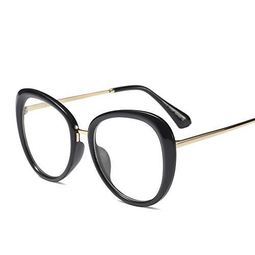 WULE-RYP Polarisierte Sonnenbrille mit UV-Schutz Mode Vintage Metall Wild Brille Horn umrandeten klare BrillenglasMänner und Frauen Superleichtes Rahmen-Fischen, das Golf fährt (Farbe : Bright Black)
