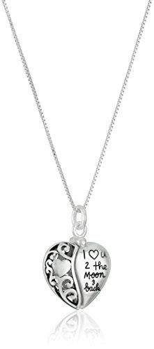 Amazon Sterling Silver Heart I Love U 2 The Moon and Back Pendant Necklace 18