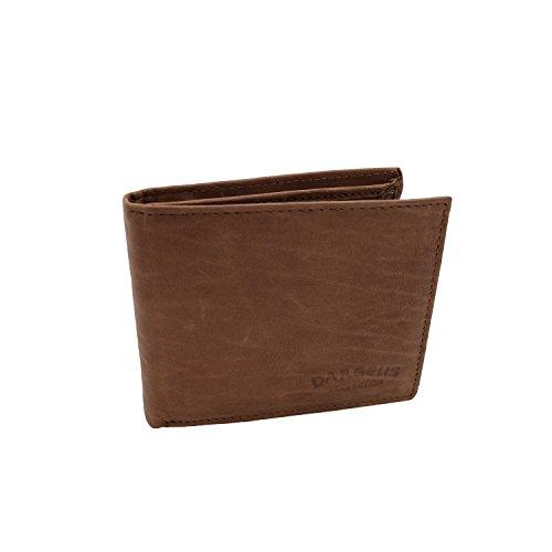 Echt Leder Geldbörse von Dargelis - Ton - Querformat - Geheimfach mit Reißverschluss & mehreren Kartenfächern
