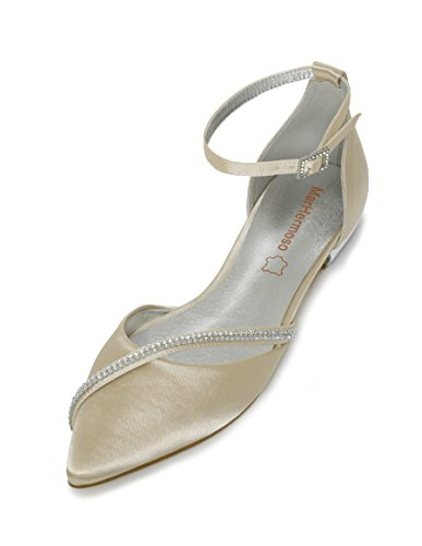 MarHermoso Damen Elegante Ballerinas Satin Ankle Strap Champagne Abendschuhe Brautschuhe (42 EU, Champagne)