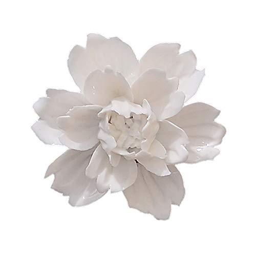 ALYCASO blühenden Blumen Keramik Pediments TV Wand Décor 3D Handgefertigte wandbehängen Zimmer Ornaments Home Dekoration Kunst M- 3.5 in Peony White -