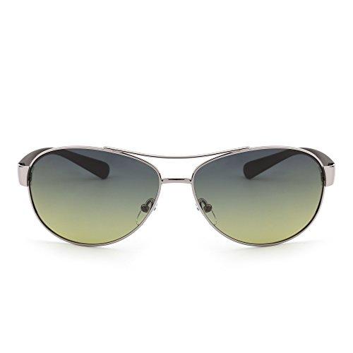 JIM HALO Polarisiert Flieger Sonnenbrille Oversized Verlaufs Linsen Matt Tempel Dame Herre Blau Gelb