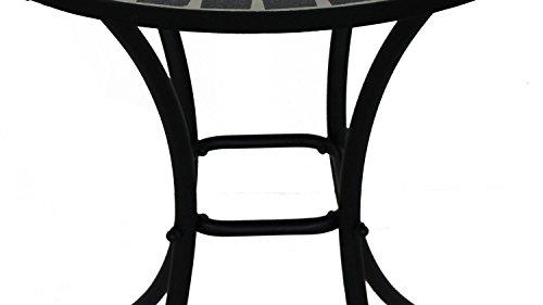 Lifestyle For Home Mosaiktisch Metalltisch rund für Balkon mit Keramik Mosaik in schwarz grau Marokkanischer Stil