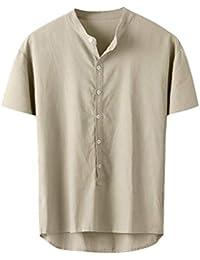 Camisas de Algodón y Lino Casual de Verano para Hombres SUNNSEAN Camisetas de Moda Color Liso con Botones Blusa Informal Casual de Manga Corta Tops