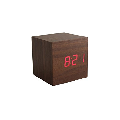KESOTO Digital LED Holz Wecker Würfelwecker Alarmwecker Kalender Thermometer - Brown + Rot