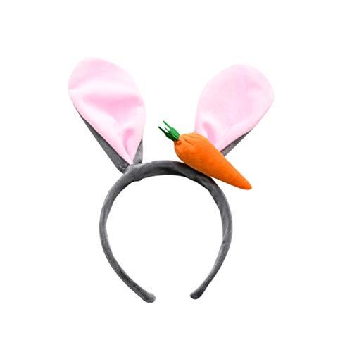 Lurrose Cute Rabbit Ears Stirnband Ostern Pelzigen Häschen Haarband mit Karotte Cosplay Party Haarband für Mädchen ()