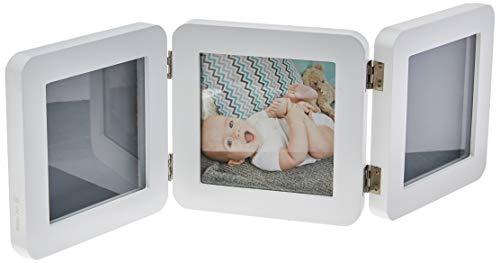 Baby Art My Baby Touch Kit de marco de huellas de mano y pie de bebé, set de regalo para bebé, de 0 meses a 3años, 12 x 12 cm, blanco (White)