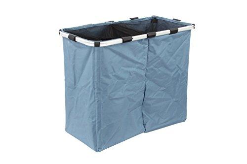 1plus cesto portabiancheria pieghevole con 2 scomparti, 100 l con robusto telaio in alluminio, 62 x 33 x 52 cm, blu