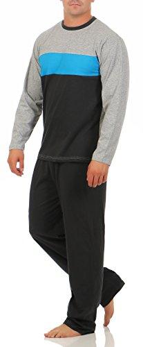 Alpin Langer Schlafanzug Herren Gr. 54/XL Grau Blau Anthrazit gestreift schlafanzug herren lang sommer schlafanzug herren herren pyjama langer schlafanzug pyjama lang (Blaue Sommer-pyjama)