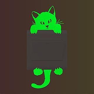 Lumanuby 1x Luminous Wandaufkleber Für Schalter Süße Katze Wandbilder Aus  PVC Kompakte Größe 14*6.0