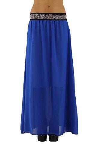 jowiha Leichter Chiffon Maxirock Sommerrock auch für große Damen 95 oder 110cm lang mit Unterrock elastischem Bund mit Strass Einheitsgröße 34-42 S-L Blau 110cm