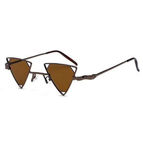 QDE Sonnenbrillen Vintage Punk Dreieck Sonnenbrille Frauen Männer Metallrahmen Schwarz Rot Gelb Rosa Steampunk Sonnenbrille Retro Shades, D