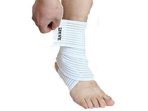 Aogolouk venda elástica tobillera deportes al aire libre del esguince de tobillo Protección (Blanco)