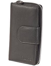 Platino - Monedero con un gran bolsillo de la moneda en circulación y cremallera de metal YKK del mejor cuero