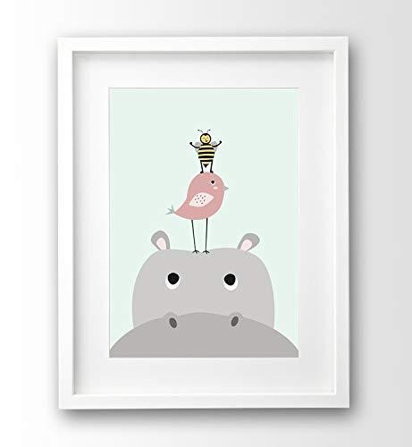 Kinderzimmer Bild Nilpferd und Freunde, A4 Poster Tiere ohne Rahmen, pastellfarben Babyzimmer Deko -